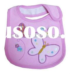 100% cotton pink beautiful butterfly baby bibs