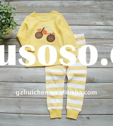 2011 autumn baby clothing set embroidered 100% cotton pajama