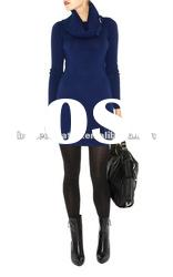 2012 Blue High Neck Knitted Wool Dress with Long Sleeves Fashion Lady Gowns Prom Dresses KM201