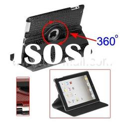 360 Degree Rotary Crocodile Skin Leather Case with Stand for iPad 2