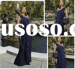 A-line One-shoulder Chiffon Floor-length Mother of the Bride