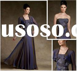 A-line Strapless Chiffon Lace Floor-length Mother Dresses
