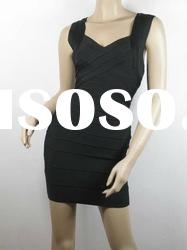 Black Straps Cross On Bust Fashion Bandage Dress H036