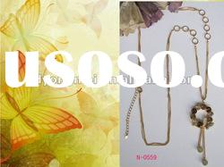 Fashion new style and hot-saling gold long chain diamond flower butterfly necklace
