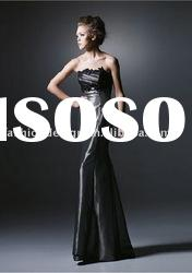 HLE00127 2011 Designer lace appliqued strapless satin backless Evening dress