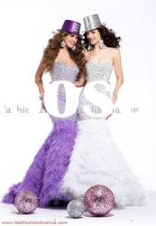 HLE00166 Newest Fashion feather sweetheart strap beaded floor length Evening dress
