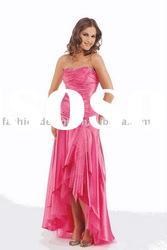 HLE0069 Latest fashion taffeta strapless ankle length Evening dress