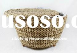 Handmade rattan round straw storage basket with fabric lined