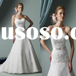 Hot Sell Strapless Sash Appliqued Flower Lace A-line Wedding Gown