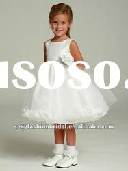 Jewel ruffle A-line skirt medium lace tulle short flower girl wedding dresses