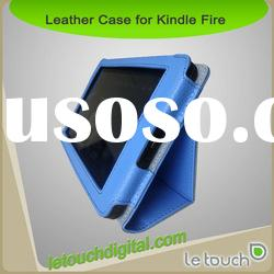 Kindle Fire Black Leather Case Cover and Flip Stand