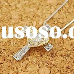 New Arrival Silvr Cross And Gold Heart Pendant Necklace/Fashion Women Cross Jewelry