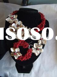 New Design Coral Jewelry Set chip with shell flower design coral necklace and earring bracelet set