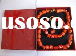 New Design Coral Jewelry Set drum bead pink coral necklace and earring bracelet set