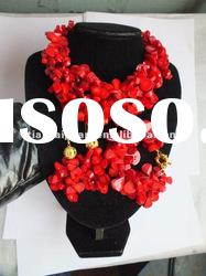 New Design Coral Jewelry Set leaf shape bead red coral necklace and earring bracelet set