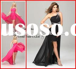 PYN2224 2012 Hot Pink Beaded Sheath One Shoulder Chiffon Evening Dress