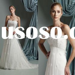 Strapless Appliqued Lace Beaded A-line Empire Wedding Dress