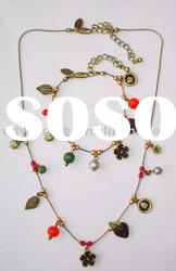Vintage design fashion costume jewelry gold plated heart flower charms necklace and bracelet sets