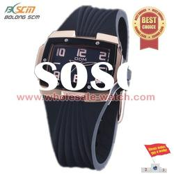 black silicone band watch with square case