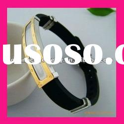 fashion stainless steel plate silicone bracelet bangle
