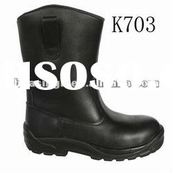 high ankle black leather safety boots,miner boots