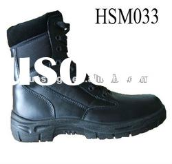 water proof black steel toe military boots with nylon