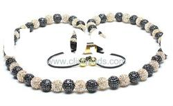 2012 Fashion Black & Gold Shamballa Necklace