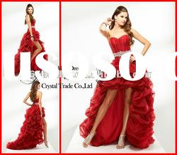 PYN2229 2012 Pleated A Line Sweetheart Organza front short and long back evening dress
