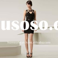 2012 Black Strap Cross On Back Lady Bandage Dress Party Evening Dress DH020