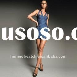 2012 Blue Bandage Dress Lady Party Evening Dress with Strap Cross on Back DH032