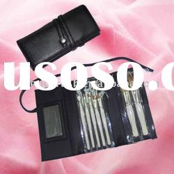 7 pcs cosmetic mirror pro makeup brushes with roll-up pu leather case