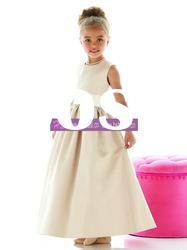 A-line Scoop Satin Grey Flower Girl Dresses