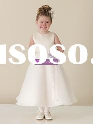 A-line Scoop Satin Organza Flower Girl Gowns
