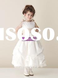 A-line Scoop Satin Tulle Flower Girl Dresses