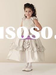 Ball Gown Scoop Satin Grey Flower Girl Dresses