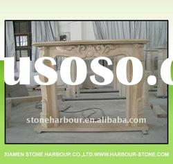 Beige marble stone fireplace