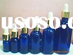 Blue glass essential oil bottle w/dropper