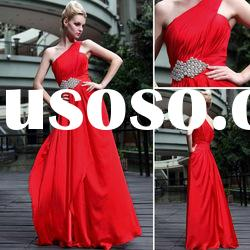DORISQUEEN(DORIS) Hot Sale One Shoulder A-Line Beaded Top Selling Red Velvet Wedding Dresses