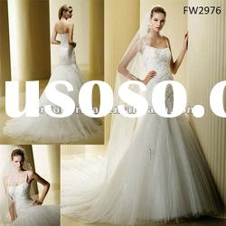 FW2976 Long Tulle Spaghetti Strap Wedding Dresses