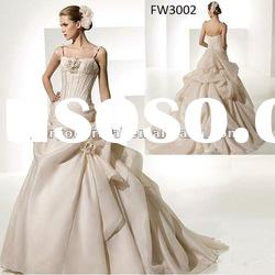 FW3002 Organza Spaghetti Strap Beautiful Princess Bridal Gown