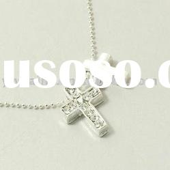 Fashion double cross pendant necklace, Silver plated cross alloy necklace jewelry