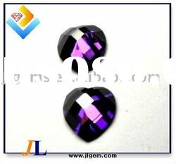 New Faceted Cut Heart Shape Dark Amy Cubic Zircona Synthetic Gemstones with AAA Grade