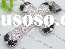 Rhinestone cross stainless steel Pendant