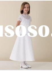 VF116 Beautiful short sleeve lace satin flower girl dress