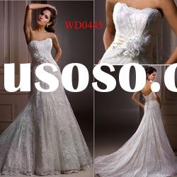 WD0445 Strapless Lace over Satin Long Designer Wedding Dresses