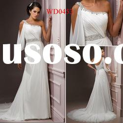 WD0453 Sheath One-Shoulder White Chiffon Wedding Dresses