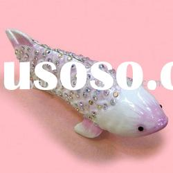 fish shape gold plated trinket box crystal jewelry boxes