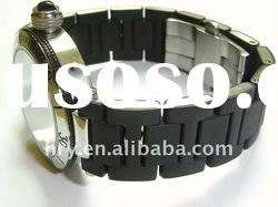 stainless steel enveloped silicone watch band