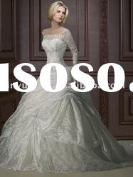 very beauty wholesale custom long sleeve strapless lace wedding dresses wedding gown DEW-145