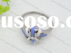 2011 lastest fashion stainless steel ring in blue and white color